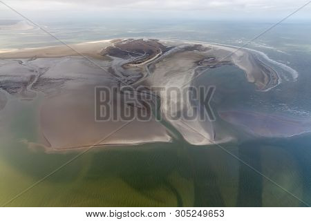 Aerial View Dutch Island Rottumerplaat, Coastline With Mudflats And Natural Channels