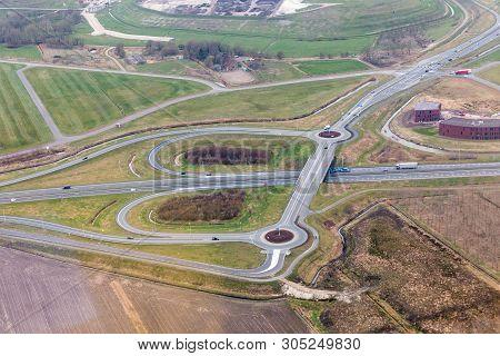 Aerial View Interchange Highway And Overpass In City Of Groningen, The Netherlands