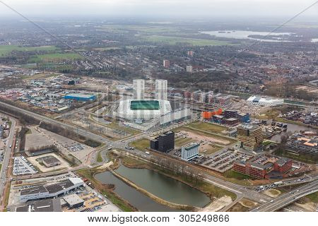Aerial View City Of Goningen With Industrial Area And Soccer Stadion, The Netherlands