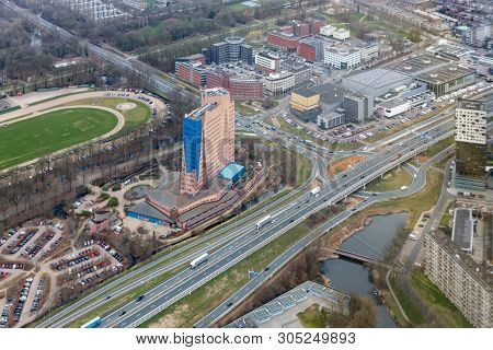 Aerial View City Of Goningen With Modern Skyscaper, The Netherlands