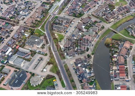 Aerial View Residential Area Village Urk, The Netherlands