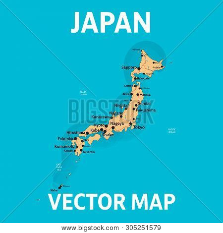 Vector Map Of Japan With Cities And Roads On Separate Layers. Tokyo, Kyoto, Osaka