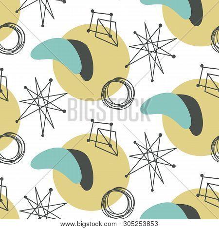 Mid Century Modern Seamless Pattern. 1950s Vintage Style Atomic Science Background, Retro Vector Ill