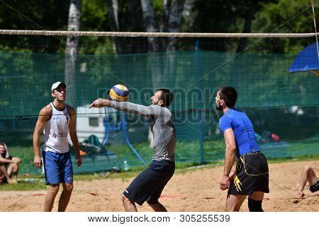 Orenburg, Russia, 9-10 June 2017 Year: Boys Playing Beach Volleyball