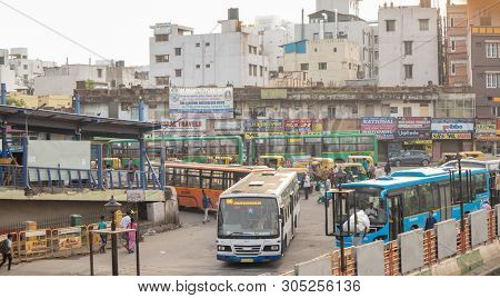 Bangalore India June 3, 2019:buses Entering Into The Kempegowda Bus Station Known As Majestic During