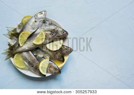 Black Sea Bluefish With Ice Cube And Lemon In Plate On Blue Concrete Table. Fish Pattern With Space