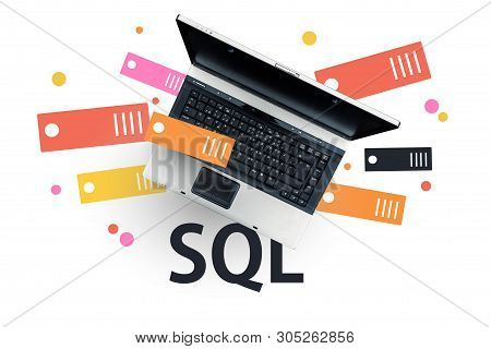 Sql Programming Language. Laptop On Word Sql. Structured Query Language