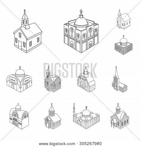 Vector Illustration Of Architecture And Building Logo. Set Of Architecture And Clergy Stock Symbol F