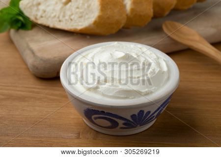Fresh white cheese, called fromage blanc in France used as a spread