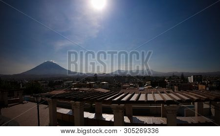Panoramic View To Misti And Picchu Picchu Mountain And Arequipa City From Yanahuara Viewpoint In Are