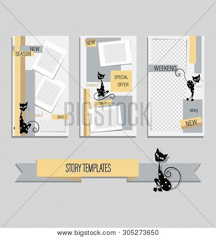 Trendy Editable Stories Template Of Cute Black Cats For Funny Stories. Gentle Backgrounds With Carto