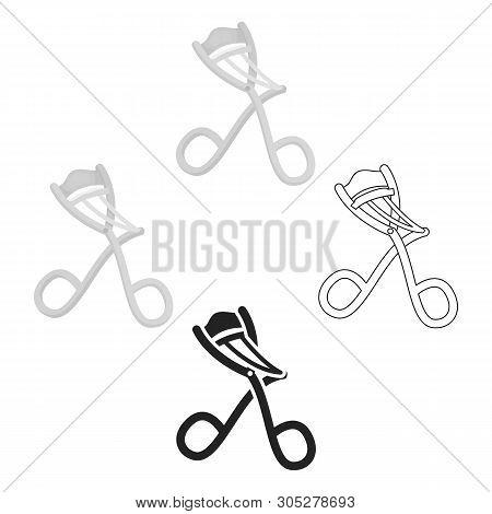 Eyelash Curler Icon In Cartoon, Black Style Isolated On White Background. Hairdressery Symbol Stock