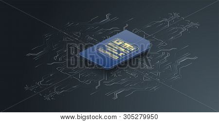 Esim Card Chip Sign. Embedded Sim Concept. New Mobile Communication Technology And Processor Backgro