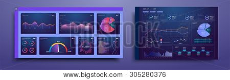 Infographic Dashboard. Dashboard Infographic Template With Modern Design With Blue Charts, Graphs An