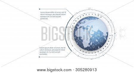 Global World Telecommunication Network Connected Around Planet Earth, Internet Of Things (iot), Devi