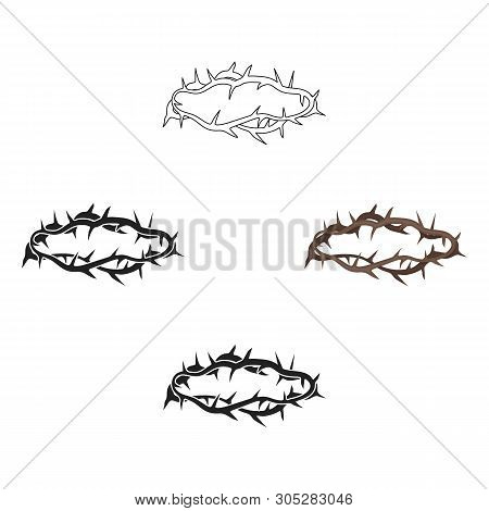Crown Of Thorns Icon In Cartoon, Black Style Isolated On White Background. Religion Symbol Stock Vec