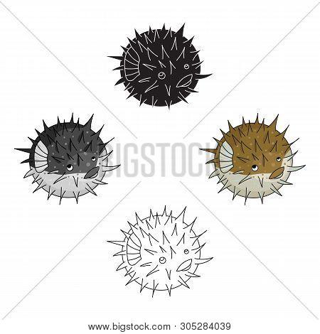 Porcupine Fish Icon In Cartoon, Black Style Isolated On White Background. Sea Animals Symbol Stock V