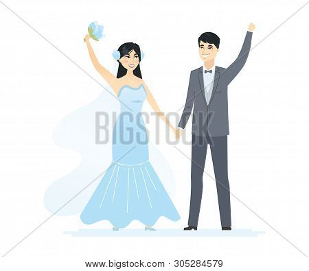Newly Married Chinese Couple - Cartoon People Characters Isolated Illustration