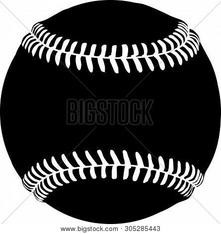 Baseball /  Softball Black Vector Silhouette Clip Art Image