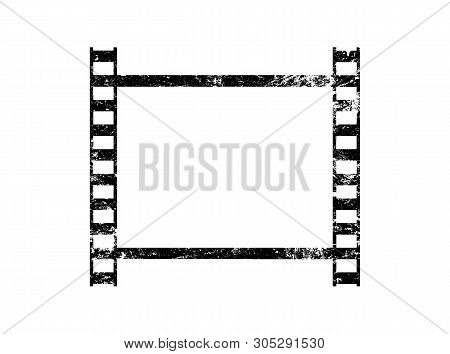 Vector Illustration Of One Old Vintage Grunge Retro Styled Classical Film Frame Isolated On White Ba