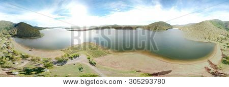 Panoramic View Of Lake Somerset, Somerset Dam And The Spit. The Somerset Dam Is A Mass Concrete Grav