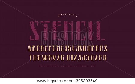 Stencil-plate Narrow Sans Serif Font. Letters And Numbers With Vintage Texture For Logo And Label De