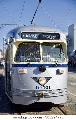 San Francisco, California, United States - Nov 25th, 2018: Historic Silver Street Car Transporting P