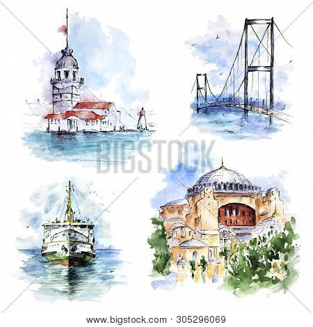 Set With Ferry, Bosphorus Bridge, Maiden's Tower And Hagia Sophia, Istanbul, Turkey. Watercolor Hand