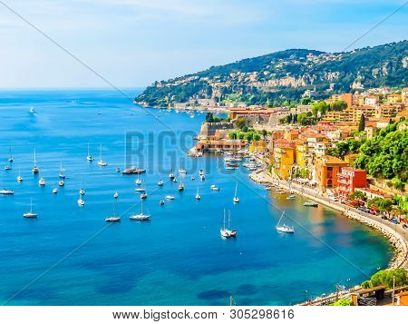 Seaside Town On The French Riviera. Landscape Of The Cote D'azur, Villefranche-sur-mer, France