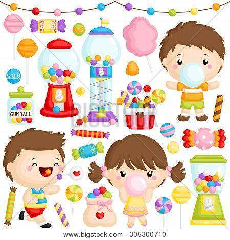 A Vector Set Of Cute Girl And Boy Chewing Bubblegum With Lots Of Bubblegum Machine