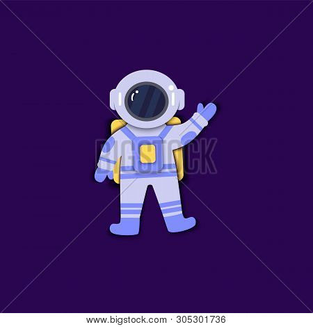 Astronaut In Space Suit Is Floating In Weightlessness Paper Art Flat Style