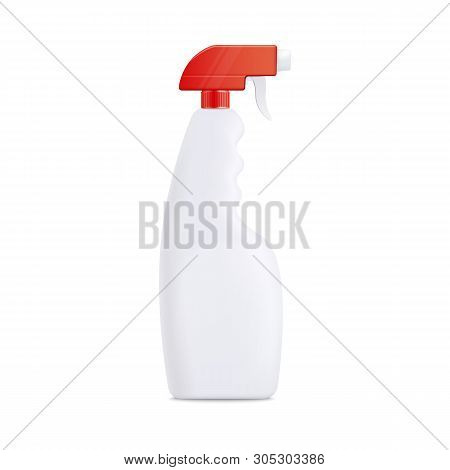 Realistic 3d Mockup Of Plastic Blank Bottle With Pulverizer Or Atomizer For Liquid Detergent.