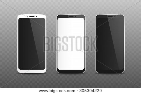 Set Of Realistic Blank Screen And Display Of Black And White Mobile Phone.