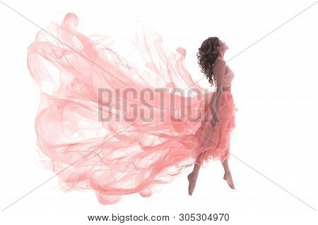 Woman In Fashion Pink Dress, Ballet Dancer Girl In Jump Flying In Dance Over White Background