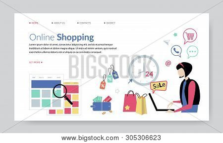 Online Shopping, Creative Website Template, Flat Design Vector Illustration