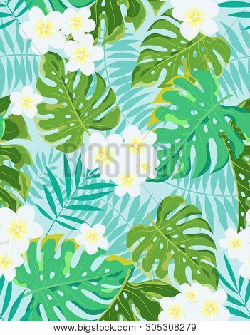 Tropic Summer Flower Seamless Vector Pattern With Palm Leaf And Plants, Composition With Flower Jung