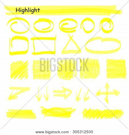Hand Drawn Highlight Marker Lines Set. Highlighter Yellow Strokes Vector Isolated On White Backgroun
