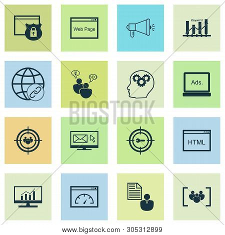 Advertising Icons Set With Keyword Ranking, Email Marketing, Comprehensive Analytics And Other Conne