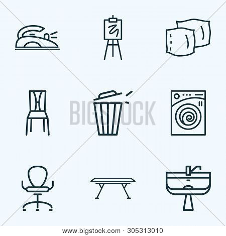 House Icons Line Style Set With Dining Table, Iron, Ergonomic Armchair And Other Trashcan Elements.