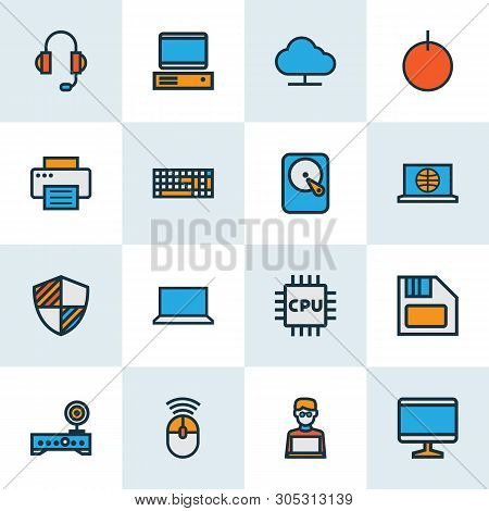 Hardware Icons Colored Line Set With Computer Monitor, Laptop, Shield And Other Broadband Elements.
