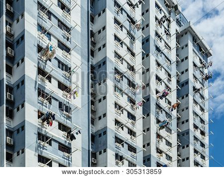 Singapore-30 Jun 2017:hdb Residential Building Facade With Hanger Background View