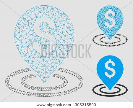 Mesh Dollar Place Model With Triangle Mosaic Icon. Wire Carcass Triangular Mesh Of Dollar Place. Vec