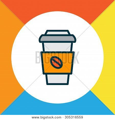 Coffee Cup Icon Colored Line Symbol. Premium Quality Isolated Decaf Element In Trendy Style.