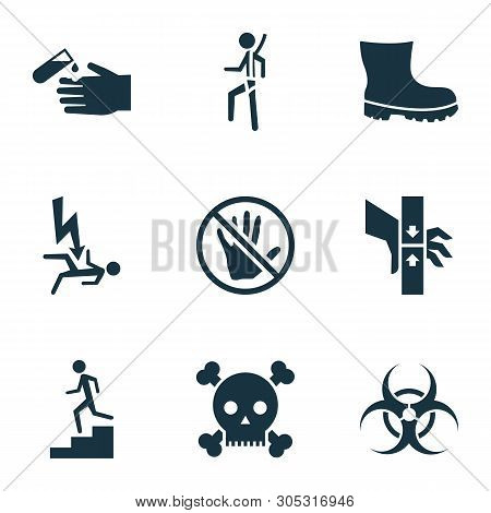 Safety Icons Set With Electrocution Hazard, Bio-hazard, Poison And Other Acid Elements. Isolated Vec
