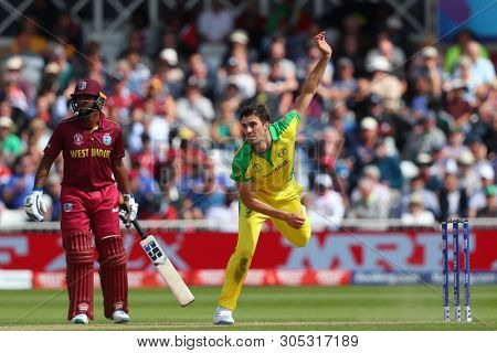 NOTTINGHAM, ENGLAND. 06 JUNE 2019: Pat Cummins of Australia bowling  during the Australia against West Indies, ICC Cricket World Cup match, at Trent Bridge, Nottingham, England.
