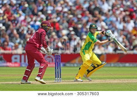 NOTTINGHAM, ENGLAND. 06 JUNE 2019: Steve Smith of Australia batting as wicketkeeper Shai Hope of West Indies looks on during the Australia against West Indies, ICC Cricket World Cup match