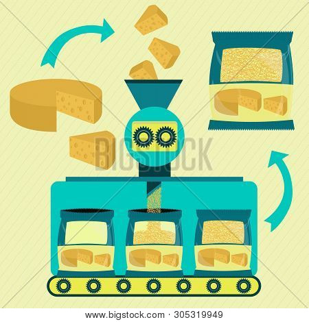 Grated Cheese Line Series Production. Factory Of Packaged Grated Cheese. Sliced Cheese Being Process