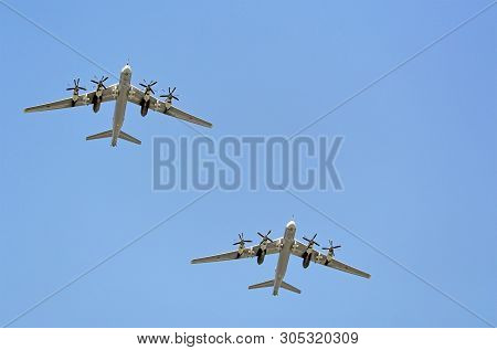Moscow, Russia - May, 2018: Turboprop Strategic Missile-carrier Bombers, Aircrafts Carrier Cruise Mi