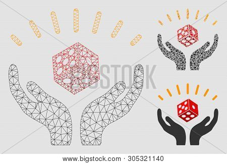 Mesh Dice Win Hands Model With Triangle Mosaic Icon. Wire Carcass Polygonal Mesh Of Dice Win Hands.