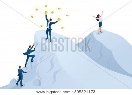 Isometric To Achieve Success, To Achieve The Goal, To Be On Top Of The Mountain. Concept For Web Des